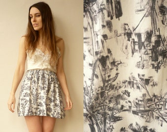 1980's Vintage Abstract Print Mini Skirt Size S/M