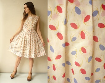 1950's Vintage Dotty Abstract Printed Prom Dress Size Small