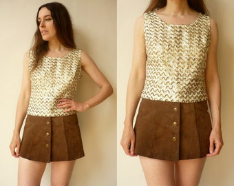 1970's Vintage Gold Sequin Sparkly Disco Top Size Small