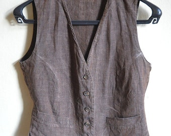 Linen vest in taupe Brown size S M