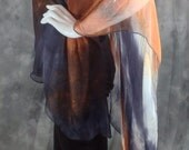Copper brown grey and cream tie dye print silk chiffon Poncho