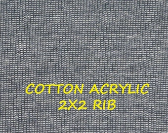 1 YARD, SWEATER KNIT, Dark Blue Heather, 2x2 Rib, Fashion Fabric, Lightweight Cotton Acrylic, B23