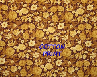 1/4 YARD, Brown Cream Floral Print, Quilting Cotton Fabric, Spring Flowers, 21 x 17, B44