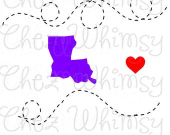 Louisiana SVG, State Dotted Lines SVG, Cut File. Louisiana with Heart SVG, La Svg Design
