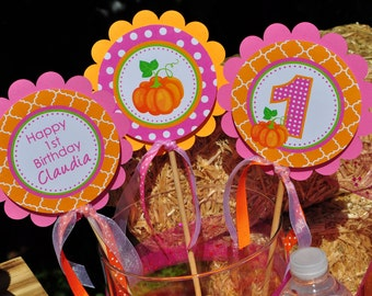 Pumpkin Party Centerpiece Sticks, Pumpkin 1st Birthday Decorations, Girls 1st Birthday Party, Pumpkin Patch Birthday Decorations - Set of 3