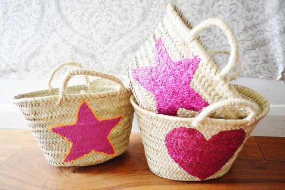 Kids Basket Panier -great for Storage, nursery, beach, picnic, holiday, Marrakech Basket Bag
