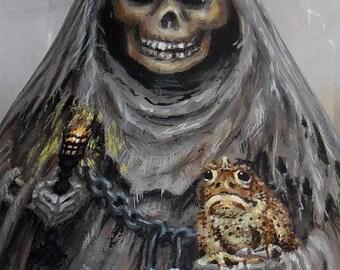 "Master of Halloween, hand painted reaper gourd, 11"" tall X 6 1/4"" diameter"