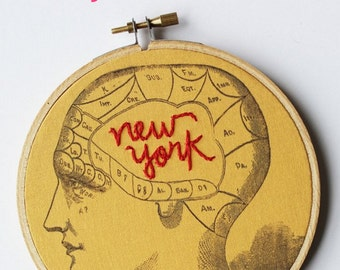 Embroidery Hoop Art. Phrenology Art, Embroidered Brain. New York Art. New York Gifts. Novelty Art, Gag Gifts. Traveler, Psych Gifts.