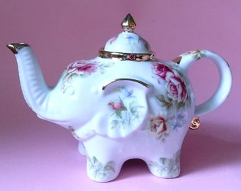 Shabby chic elephant teapot with pink and yellow roses and real 22kt gold
