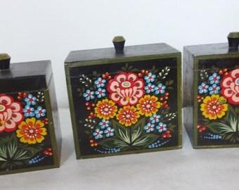 3 Bohemian Painted Pantry Boxes & Pegged Shelf
