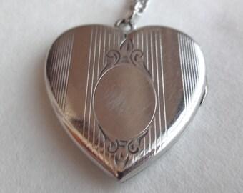 Deco Sterling Silver Heart Locket