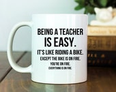 Teacher Mug | Teacher Gift Idea | Being a Teacher is Easy | Funny Teacher Gift | Funny Mug | Funny Gift | Gag Gift | Funny Coffee Cup