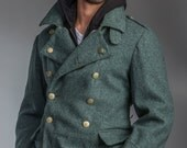 1950's Authentic MILITARY STYLE VINTAGE Swiss Army Wool Grey Blue Overcoat/ Greatcoat (Un-Issued)