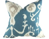 Decorative Ikat Pillow Cover with Cream Linen Back, Toss Pillow Covers, Light Blue, Beige and Cream Pillow Cover