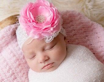 Pink and white headband, OTT headband, over the top headband, pink newborn headband, pink lace headband, white lace headband, lace headband