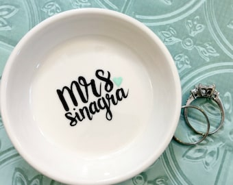 Engagement Ring Dish - Mrs. Engagement Ring Holder Gift for the Bride