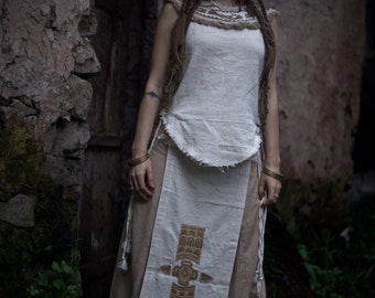 OUTFIT Native American Style Tribal Top and  Panel Skirt Outfit with Discount