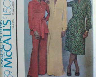 McCall's 4359 - 1970's Pullover Dress, Top and Pants Pattern for Knits - Size 12, Bust 34, UNCUT