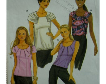 Pullover Top Pattern, Bias Shoulder Drape, Neck Pleats, Sleeveless/Short Sleeves, Scoop Neck, Butterick No. 5608 Size 16