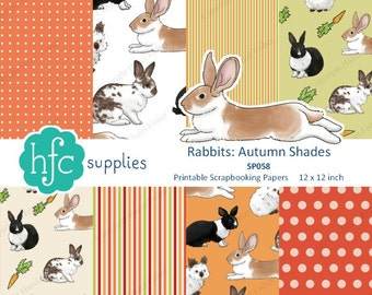 Rabbits Autumn Shades Digital Paper Set, printable scrapbooking papers 12x12 inch, bunnies, carrots, spots, stripes - Instant Download SP058