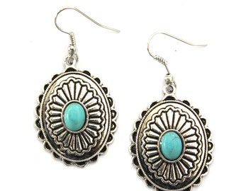 Native American Inspired Howlite Turquoise & Silver plated Oval Earrings Boho ethched earrings Southwestern Vintage reproduction By Inali