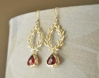 Gold Wreath Earrings/ Red Crystal Earrings/ Long Earrings/ Leaf Earrings/ Holiday Jewelry/ Christmas Earrings/ Christmas Gift for Her