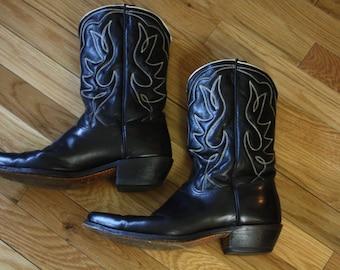 "Black ""Acme"" Cowboy Boots"