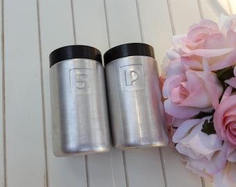 Aluminum Salt and Pepper Shakers With Black Lids - Oak Hill Vintage