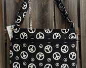 Zipper Pocket Cross Body Bag - Black and White Peace Signs
