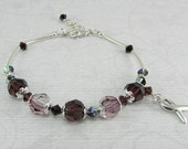 Burgundy Multiple Myeloma Cancer Awareness Silver Ribbon Bracelet
