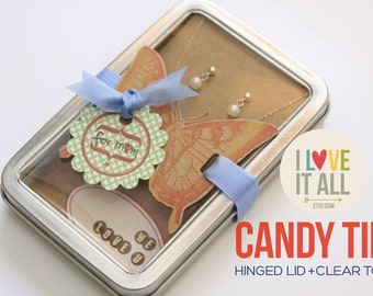 """Candy Tin, Rectangle Window Tin with Hinged Lid, Treat Box, Clear Lid Tin, Rectangle Tin, 5.25"""" x 3.50"""", Favors Packaging"""