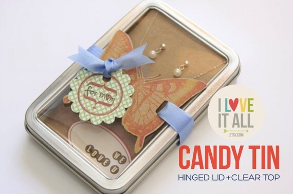 "Candy Tin . Rectangle Window Favor Clear Plastic Hinged Lid . Treats Favors 5.25"" x 3.50"" x 1"" . Metal Magnetic Gift Card Holder Packaging"