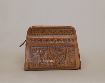 Leather Tooled Purse 70s Mexican Aztec GODHEAD Mayan Calendar 1970s Hippie Boho Tan Hand Tooled