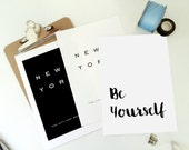 Be Yourself Printable Art Print - Motivational Inspirational Quote Poster - Minimal Wall Art - Home Decor - Black and White- PDF JPG Files
