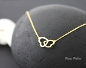 Heart in Heart Necklace in Matt Silver/ Gold. Love. Valentine's Gift. Anniversary. Sweet. Everyday Wear. Gift For Her (PNL-45)