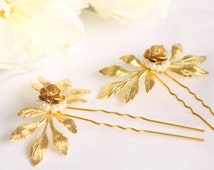 Gold Leaf Hair Pins, Flower Rose Hair Clip, Gold Bridal Bridesmaid Hairpiece / Bohemian, Vintage, Woodland / Secret Garden Collection