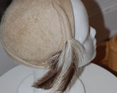 50s Hat, Feathered Cap, Cream, Winter Hat, Tricorn Hat, Cloche, Henrys of Dallas