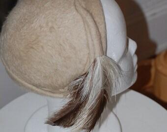50s Hat, Feathered Cap, Cream, Winter Hat, Tricorn Hat, Cloche, Henrys of Dallas