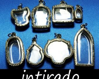 Terrarium Pendant Blanks, Antiqued Locket, Engraved Locket, Shadow Box, Locket Case, Reliquary Blanks, Craft Supplies, Cat, Tiger, 8pcs