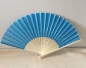 Regency/Victorian Style Fan. Mid blue Silky Fan. Bridal Favour.