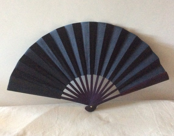 Regency/Victorian Style Fan. Black Silk and Wood. Mourning. Goth