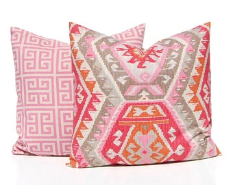 Pink Tribal Pillow Cover -Throw Pillow Covers - Sofa Pillow Covers - Pink Pillow Covers - Pink Cushion Covers - Pair of Two - Greek Key