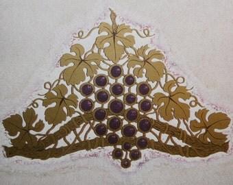 Linocut print Gold Tiara with Amethyst Grapes