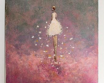 Original Figurative Painting Dancer painting Angel  Finding Peace 30 x 24   Swalla Studio pink purple blue