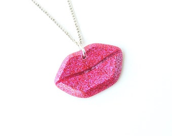 Hot Pink Lips Necklace, Quirky Kitsch Fuchsia Pink Glitter Lips Resin Pendant, Resin Jewellery, Mouth Kiss Lipstick Jewellery, UK, 738