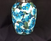 Hand Painted Glass Jardin Vase - Island Blossoms Blue on Blue
