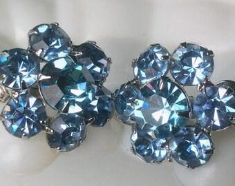 Eisenberg Light Blue Rhinestone Earrings - Something Blue