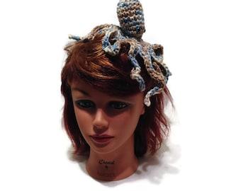 Octopus Headband, Blue and Tan Octopus, Amigurumi Octopus, Octopus Costume, Octopus Cosplay, Costume Headband Octopus Accessory Octopus Hair