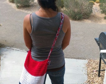 Crochet Market Bag - Red, White and Blue - 4th of July Bag