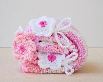 Christmas baby quilt Crochet blanket ,Crochet baby blanket , baby girl pink afghan , stroller blanket  , crib blanket , baby girl blanket
